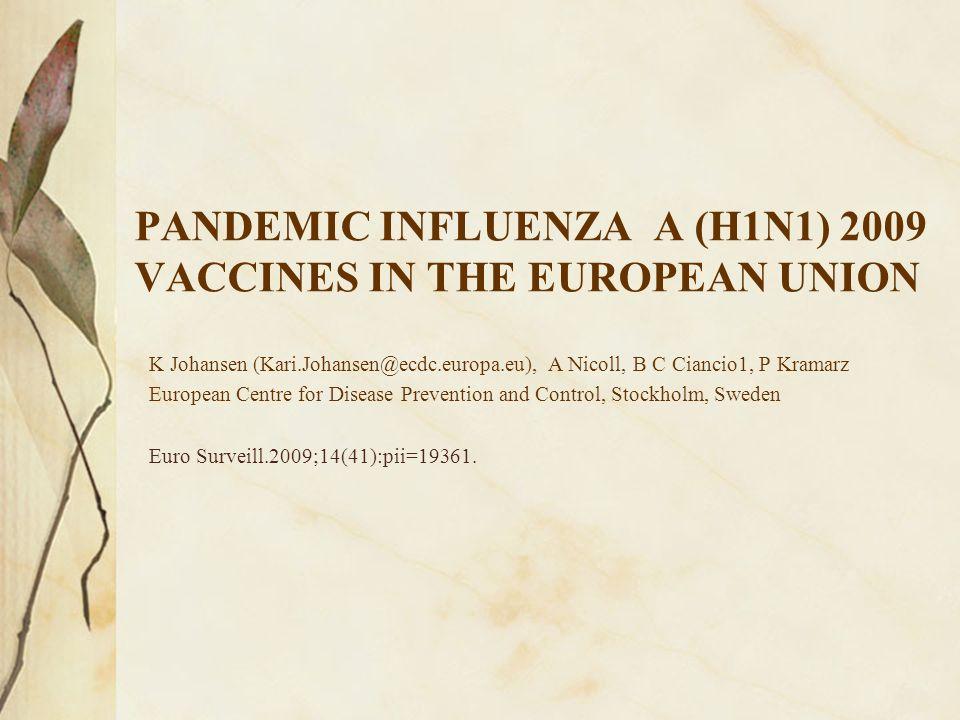 GİRİŞ 2009 Pandemik influenza A(H1N1) infeksiyonundan korunmak için günümüzde dört üretici firmanın aşısı mevcuttur.