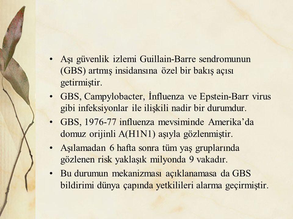 Aşı güvenlik izlemi Guillain-Barre sendromunun (GBS) artmış insidansına özel bir bakış açısı getirmiştir.