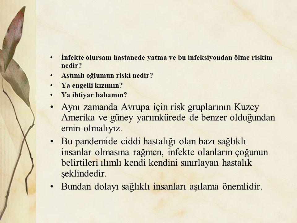 İnfekte olursam hastanede yatma ve bu infeksiyondan ölme riskim nedir.
