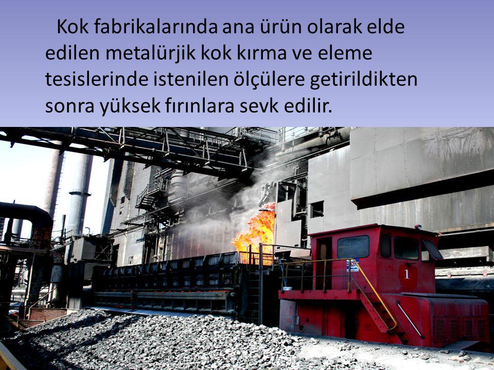 Kok fabrikalarında ana ürün olarak elde edilen metalürjik kok kırma ve eleme tesislerinde istenilen ölçülere getirildikten sonra yüksek fırınlara sevk