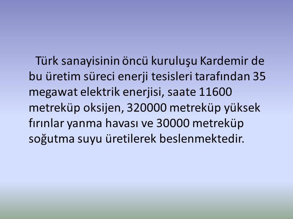 Türk sanayisinin öncü kuruluşu Kardemir de bu üretim süreci enerji tesisleri tarafından 35 megawat elektrik enerjisi, saate 11600 metreküp oksijen, 32