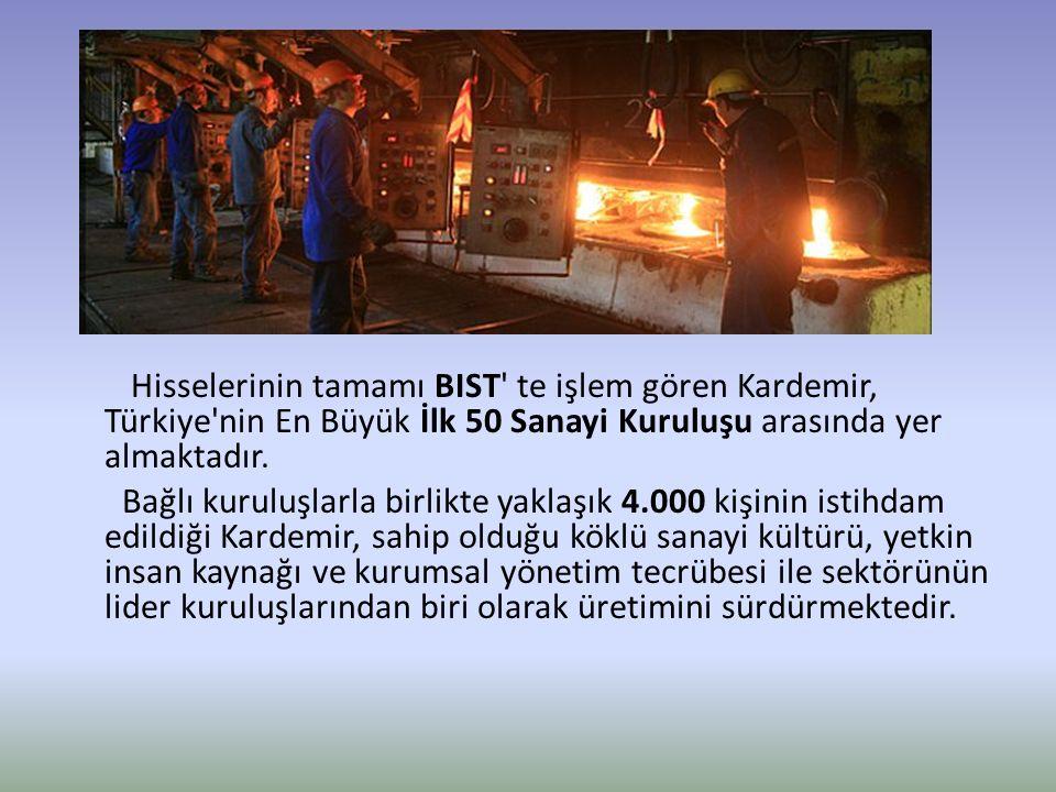 Hisselerinin tamamı BIST' te işlem gören Kardemir, Türkiye'nin En Büyük İlk 50 Sanayi Kuruluşu arasında yer almaktadır. Bağlı kuruluşlarla birlikte ya
