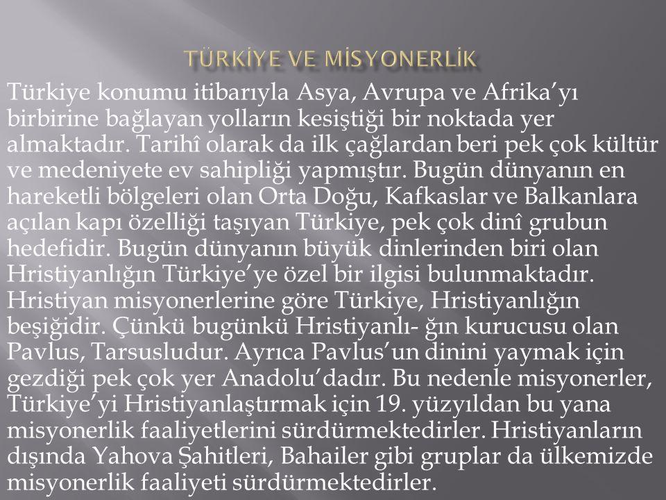 Türkiye konumu itibarıyla Asya, Avrupa ve Afrika'yı birbirine bağlayan yolların kesiştiği bir noktada yer almaktadır. Tarihî olarak da ilk çağlardan b