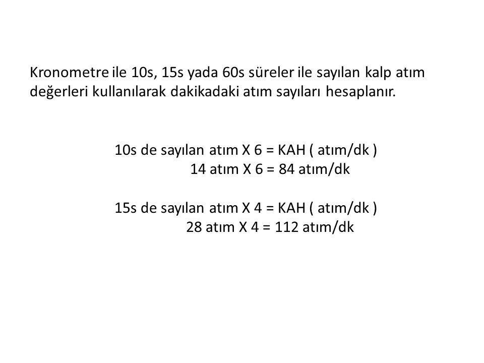 Kronometre ile 10s, 15s yada 60s süreler ile sayılan kalp atım değerleri kullanılarak dakikadaki atım sayıları hesaplanır. 10s de sayılan atım X 6 = K