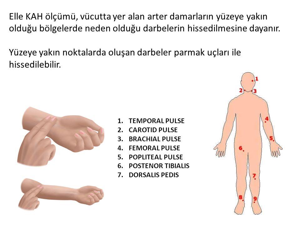 1.TEMPORAL PULSE 2.CAROTID PULSE 3.BRACHIAL PULSE 4.FEMORAL PULSE 5.POPLITEAL PULSE 6.POSTENOR TIBIALIS 7.DORSALIS PEDIS Elle KAH ölçümü, vücutta yer
