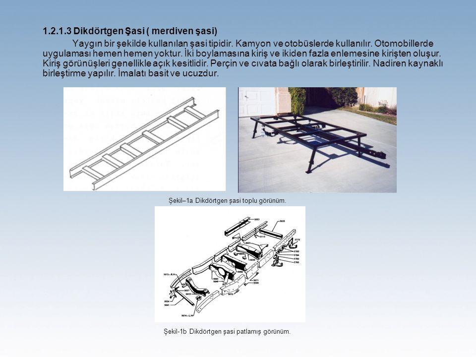 1.2.1.3 Dikdörtgen Şasi ( merdiven şasi) Yaygın bir şekilde kullanılan şasi tipidir.