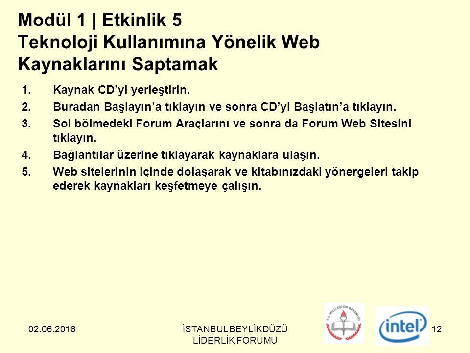 02.06.2016İSTANBUL BEYLİKDÜZÜ LİDERLİK FORUMU 12 Modül 1 | Etkinlik 5 Teknoloji Kullanımına Yönelik Web Kaynaklarını Saptamak 1.Kaynak CD'yi yerleştirin.