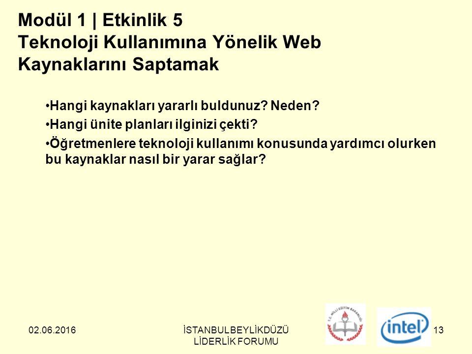 02.06.2016İSTANBUL BEYLİKDÜZÜ LİDERLİK FORUMU 13 Modül 1 | Etkinlik 5 Teknoloji Kullanımına Yönelik Web Kaynaklarını Saptamak Hangi kaynakları yararlı buldunuz.