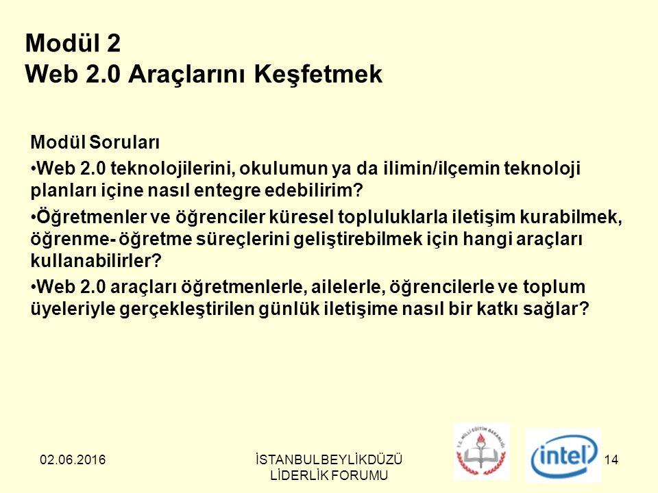 02.06.2016İSTANBUL BEYLİKDÜZÜ LİDERLİK FORUMU 14 Modül 2 Web 2.0 Araçlarını Keşfetmek Modül Soruları Web 2.0 teknolojilerini, okulumun ya da ilimin/ilçemin teknoloji planları içine nasıl entegre edebilirim.