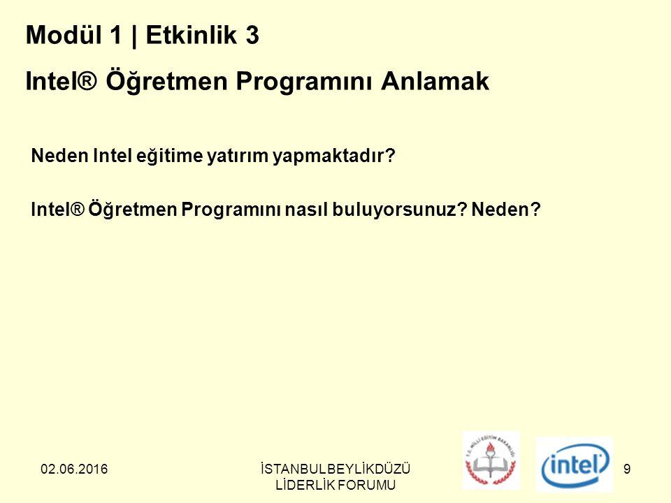 02.06.2016İSTANBUL BEYLİKDÜZÜ LİDERLİK FORUMU 9 Modül 1 | Etkinlik 3 Intel® Öğretmen Programını Anlamak Neden Intel eğitime yatırım yapmaktadır.