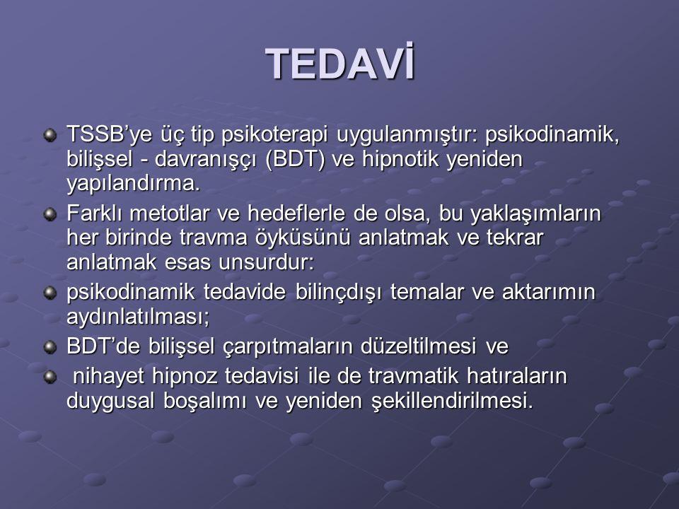 TEDAVİ TSSB'ye üç tip psikoterapi uygulanmıştır: psikodinamik, bilişsel - davranışçı (BDT) ve hipnotik yeniden yapılandırma.