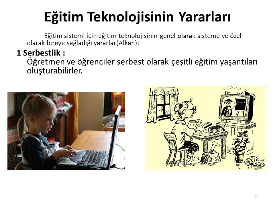 Eğitim Teknolojisinin Yararları Eğitim sistemi için eğitim teknolojisinin genel olarak sisteme ve özel olarak bireye sağladığı yararlar(Alkan): 1 Serb