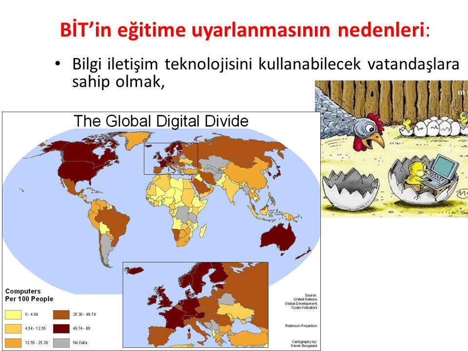 BİT'in eğitime uyarlanmasının nedenleri: Bilgi iletişim teknolojisini kullanabilecek vatandaşlara sahip olmak,