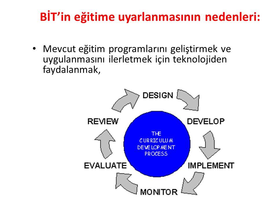 BİT'in eğitime uyarlanmasının nedenleri: Mevcut eğitim programlarını geliştirmek ve uygulanmasını ilerletmek için teknolojiden faydalanmak,