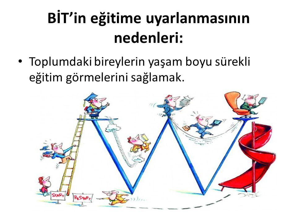 BİT'in eğitime uyarlanmasının nedenleri: Toplumdaki bireylerin yaşam boyu sürekli eğitim görmelerini sağlamak.