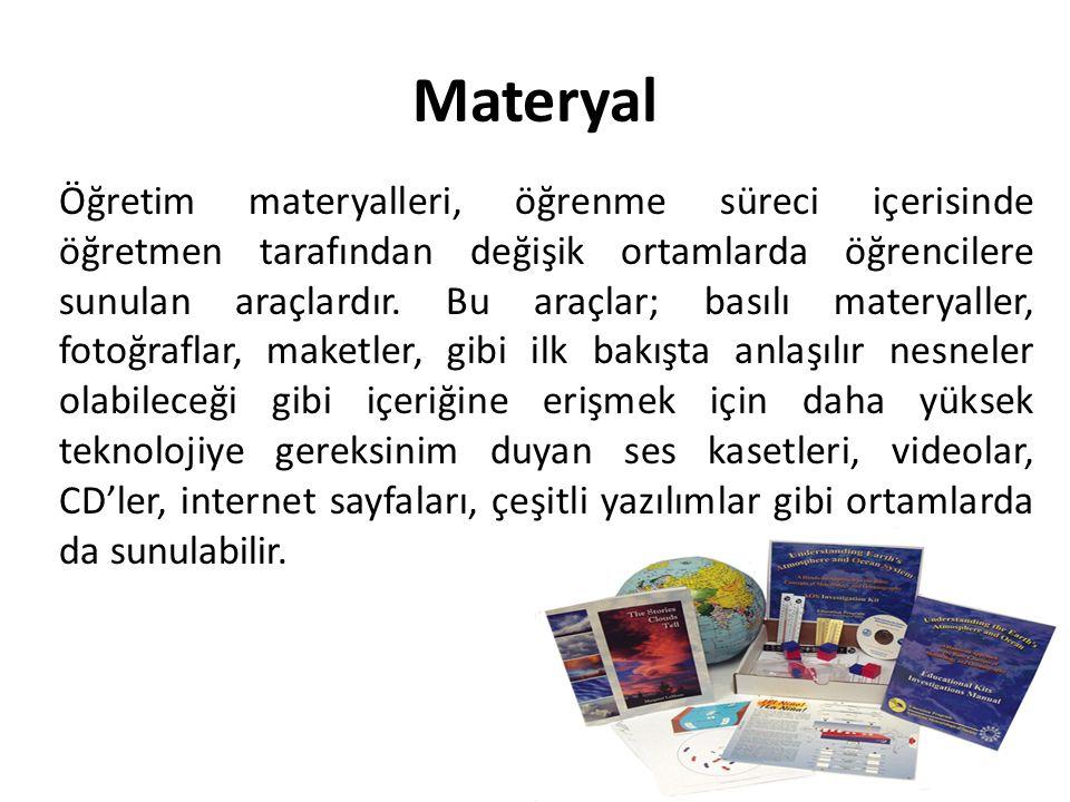 Materyal Öğretim materyalleri, öğrenme süreci içerisinde öğretmen tarafından değişik ortamlarda öğrencilere sunulan araçlardır. Bu araçlar; basılı mat