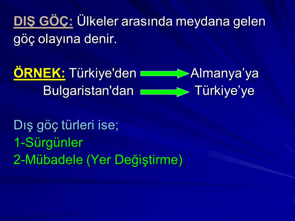 DIŞ GÖÇ: Ülkeler arasında meydana gelen göç olayına denir. ÖRNEK: Türkiye'den Almanya'ya Bulgaristan'dan Türkiye'ye Dış göç türleri ise; 1-Sürgünler 2