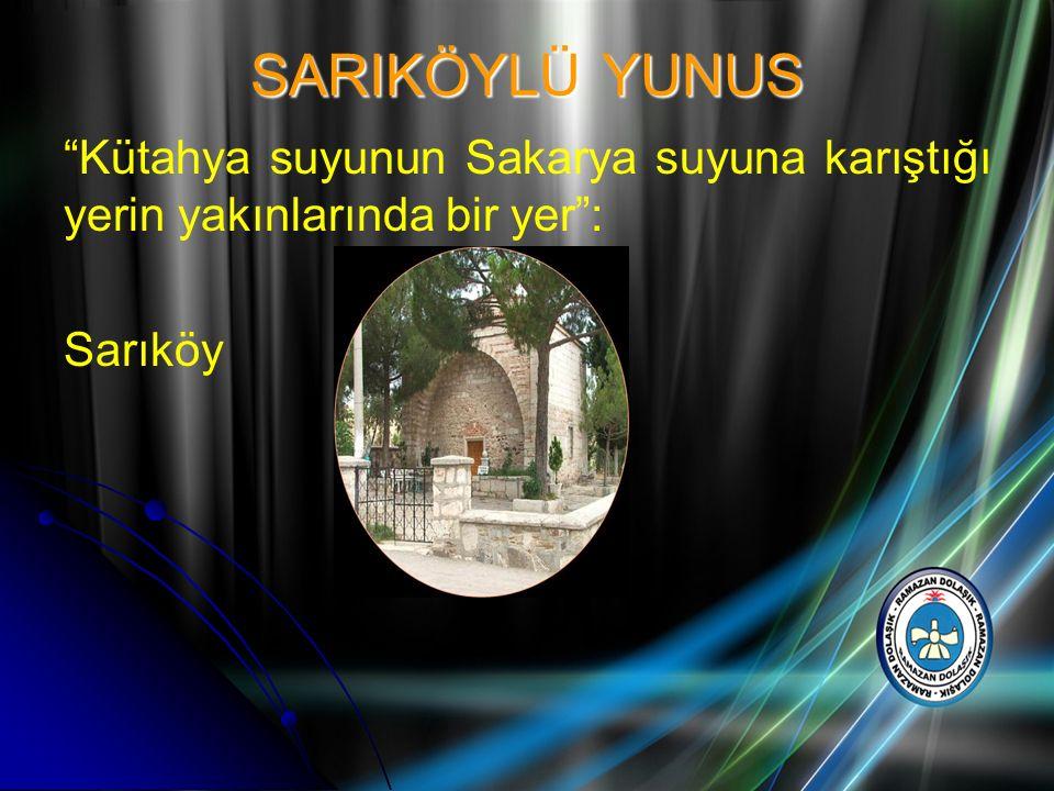 """SARIKÖYLÜ YUNUS """"Kütahya suyunun Sakarya suyuna karıştığı yerin yakınlarında bir yer"""": Sarıköy"""