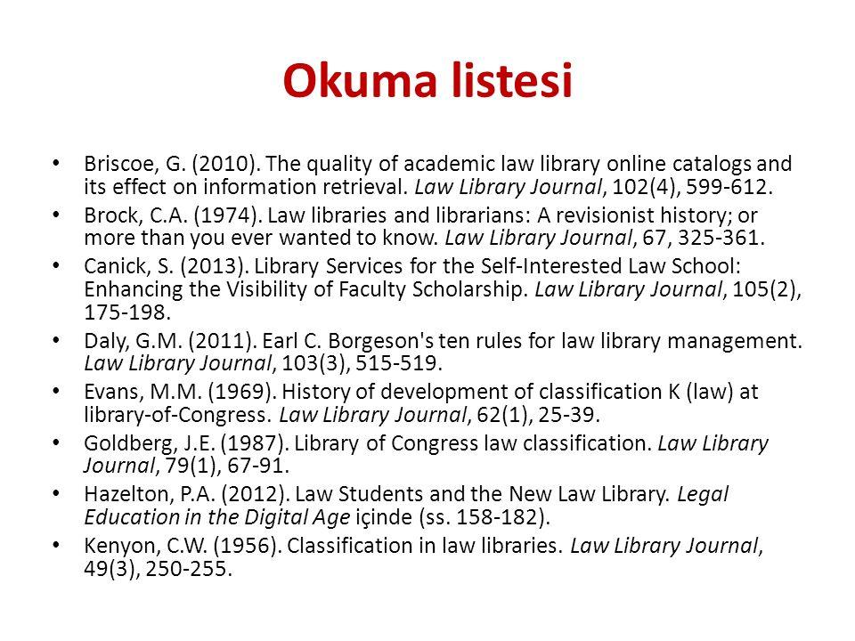 Okuma listesi Briscoe, G. (2010).