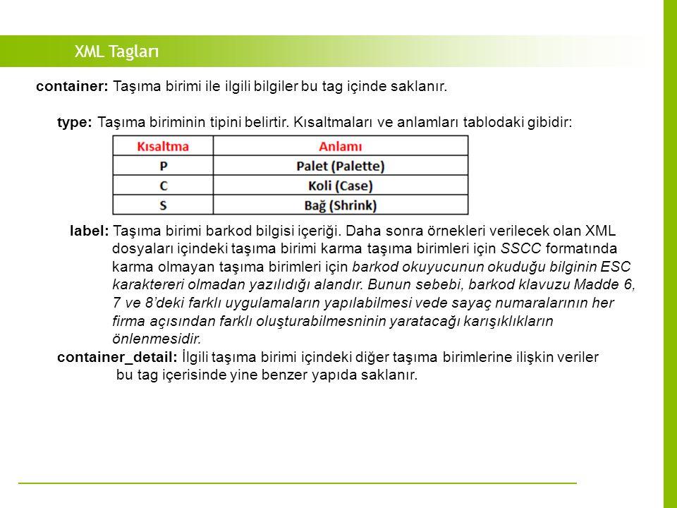 XML Tagları container: Taşıma birimi ile ilgili bilgiler bu tag içinde saklanır.