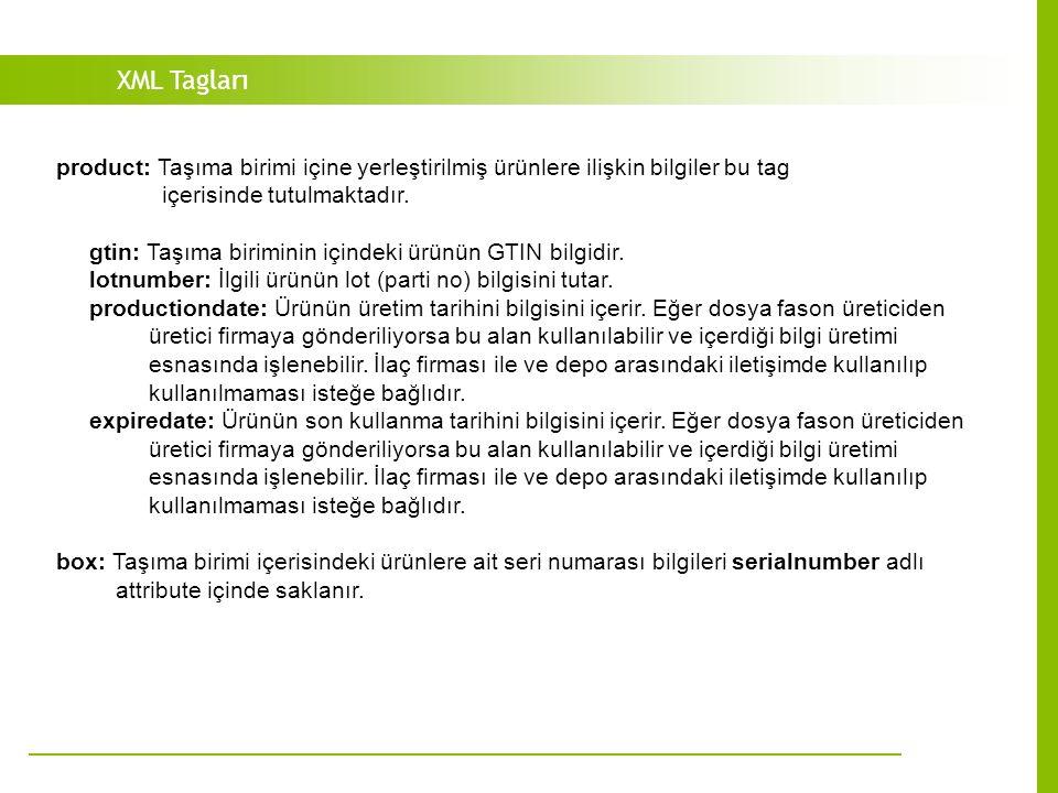 XML Tagları product: Taşıma birimi içine yerleştirilmiş ürünlere ilişkin bilgiler bu tag içerisinde tutulmaktadır.