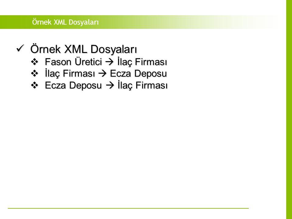 Örnek XML Dosyaları Örnek XML Dosyaları Örnek XML Dosyaları  Fason Üretici  İlaç Firması  İlaç Firması  Ecza Deposu  Ecza Deposu  İlaç Firması