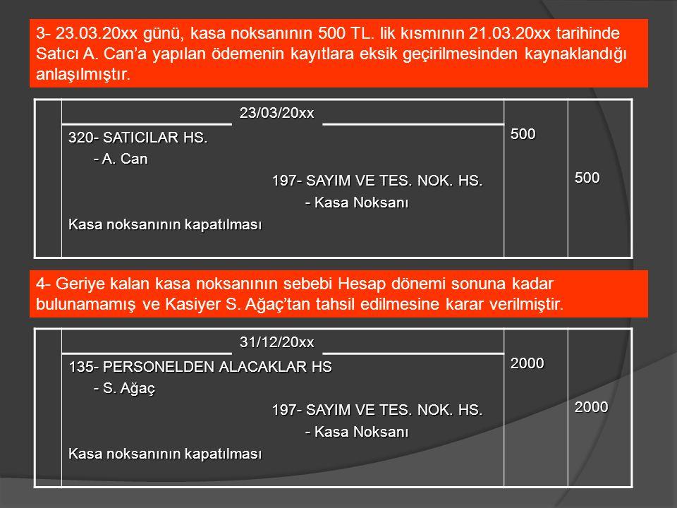 23/03/20xx500500 320- SATICILAR HS. - A. Can - A. Can 197- SAYIM VE TES. NOK. HS. - Kasa Noksanı - Kasa Noksanı Kasa noksanının kapatılması 3- 23.03.2