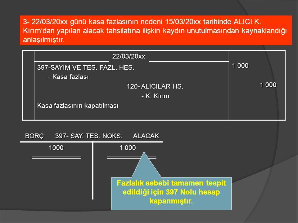 22/03/20xx 1 000 397-SAYIM VE TES. FAZL. HES. - Kasa fazlası - Kasa fazlası 120- ALICILAR HS. - K. Kırım - K. Kırım Kasa fazlasının kapatılması 3- 22/