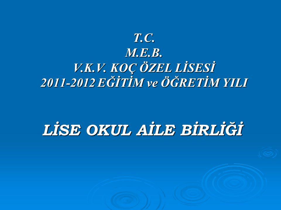 T.C. M.E.B. V.K.V. KOÇ ÖZEL LİSESİ 2011-2012 EĞİTİM ve ÖĞRETİM YILI LİSE OKUL AİLE BİRLİĞİ