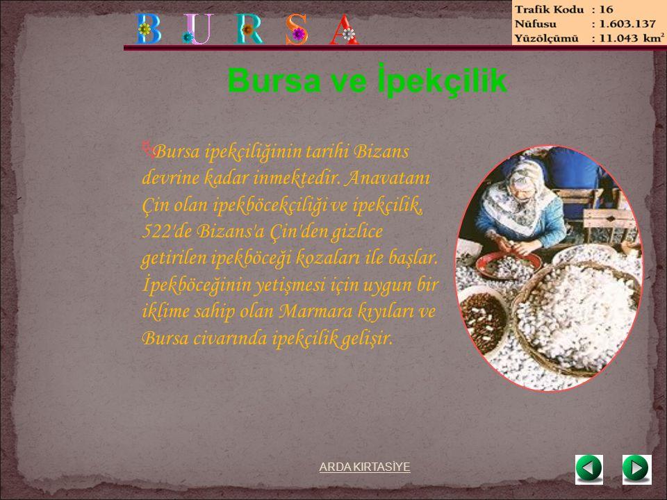 Bursa ve İpekçilik  Bursa ipekçiliğinin tarihi Bizans devrine kadar inmektedir.