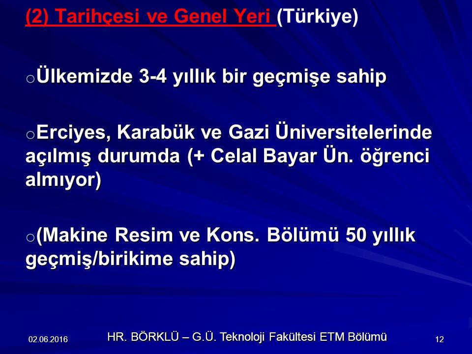 (2) Tarihçesi ve Genel Yeri (Türkiye) o Ülkemizde 3-4 yıllık bir geçmişe sahip o Erciyes, Karabük ve Gazi Üniversitelerinde açılmış durumda (+ Celal Bayar Ün.