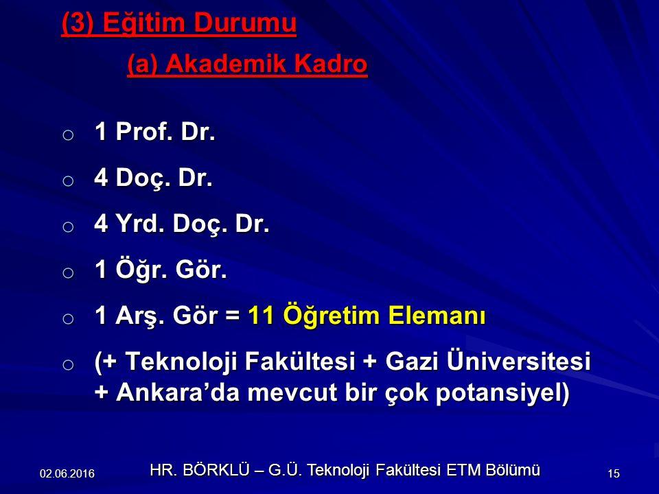 (3) Eğitim Durumu (a) Akademik Kadro o 1 Prof.Dr.