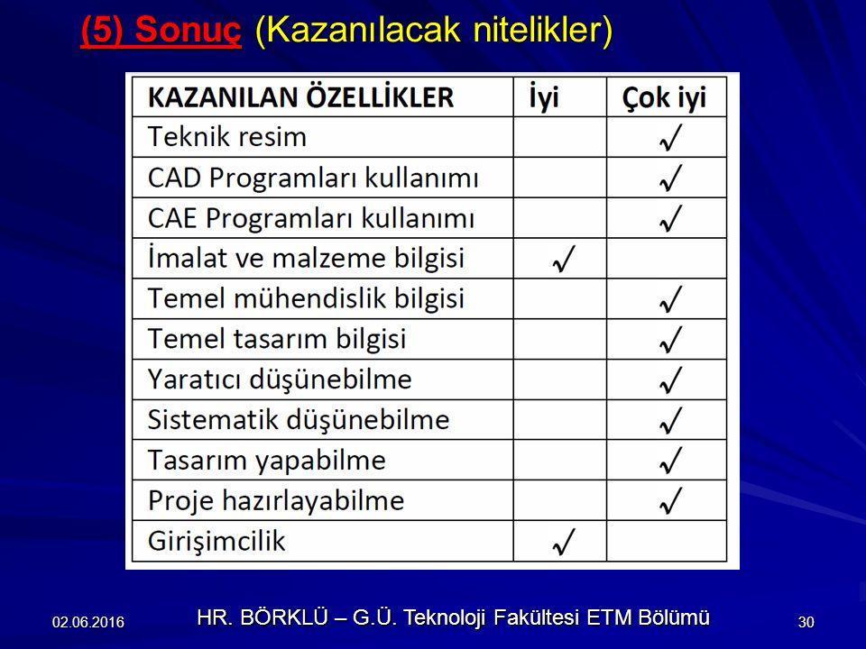 (5) Sonuç (Kazanılacak nitelikler) 02.06.201630 HR. BÖRKLÜ – G.Ü. Teknoloji Fakültesi ETM Bölümü