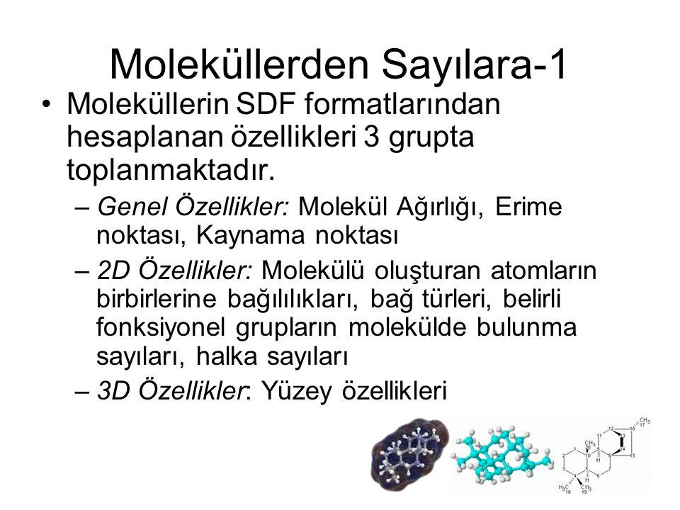 Moleküllerden Sayılara-1 Moleküllerin SDF formatlarından hesaplanan özellikleri 3 grupta toplanmaktadır. –Genel Özellikler: Molekül Ağırlığı, Erime no