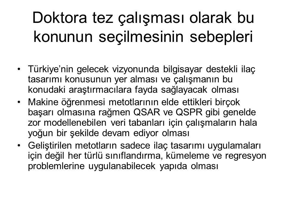 Doktora tez çalışması olarak bu konunun seçilmesinin sebepleri Türkiye'nin gelecek vizyonunda bilgisayar destekli ilaç tasarımı konusunun yer alması v