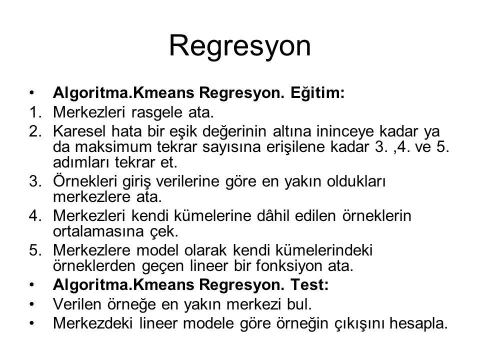 Regresyon Algoritma.Kmeans Regresyon. Eğitim: 1.Merkezleri rasgele ata. 2.Karesel hata bir eşik değerinin altına ininceye kadar ya da maksimum tekrar