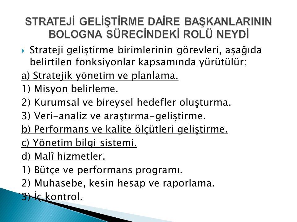  Strateji geliştirme birimlerinin görevleri, aşağıda belirtilen fonksiyonlar kapsamında yürütülür: a) Stratejik yönetim ve planlama.