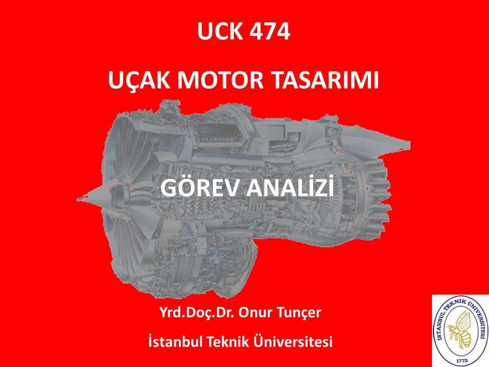 UCK 474 UÇAK MOTOR TASARIMI Yrd.Doç.Dr. Onur Tunçer İstanbul Teknik Üniversitesi GÖREV ANALİZİ