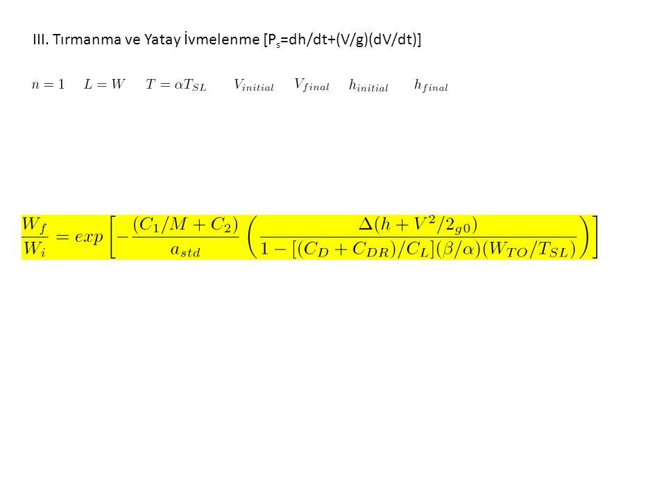 III. Tırmanma ve Yatay İvmelenme [P s =dh/dt+(V/g)(dV/dt)]