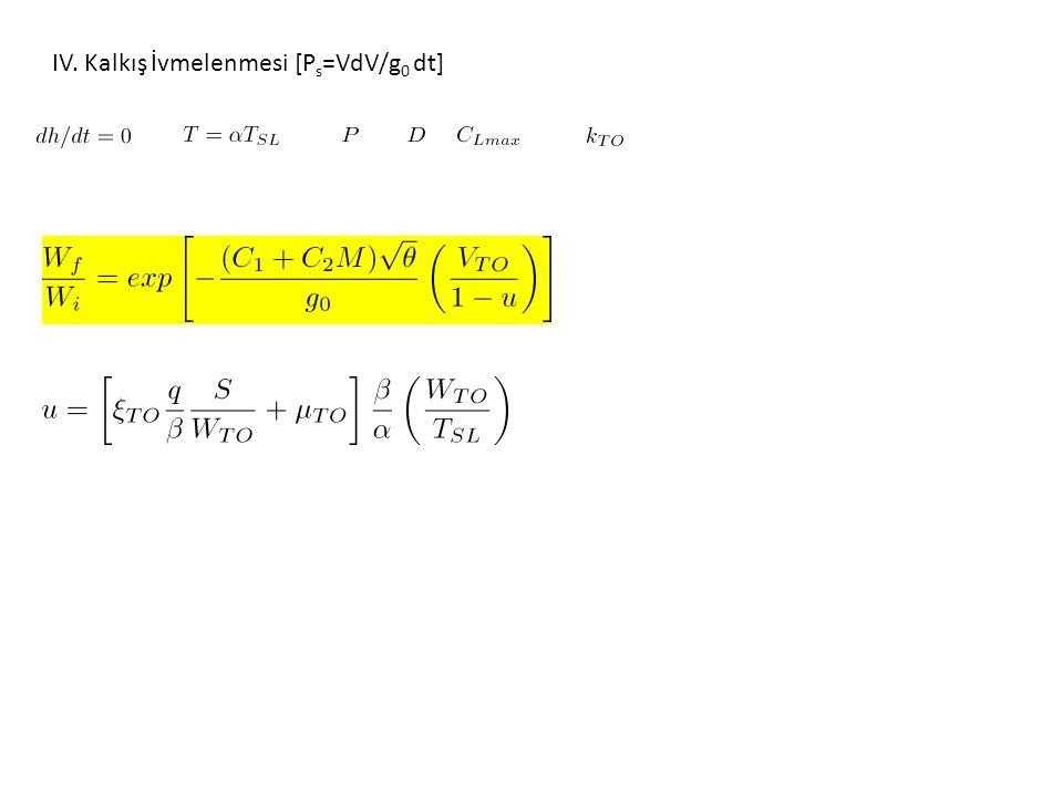 IV. Kalkış İvmelenmesi [P s =VdV/g 0 dt]