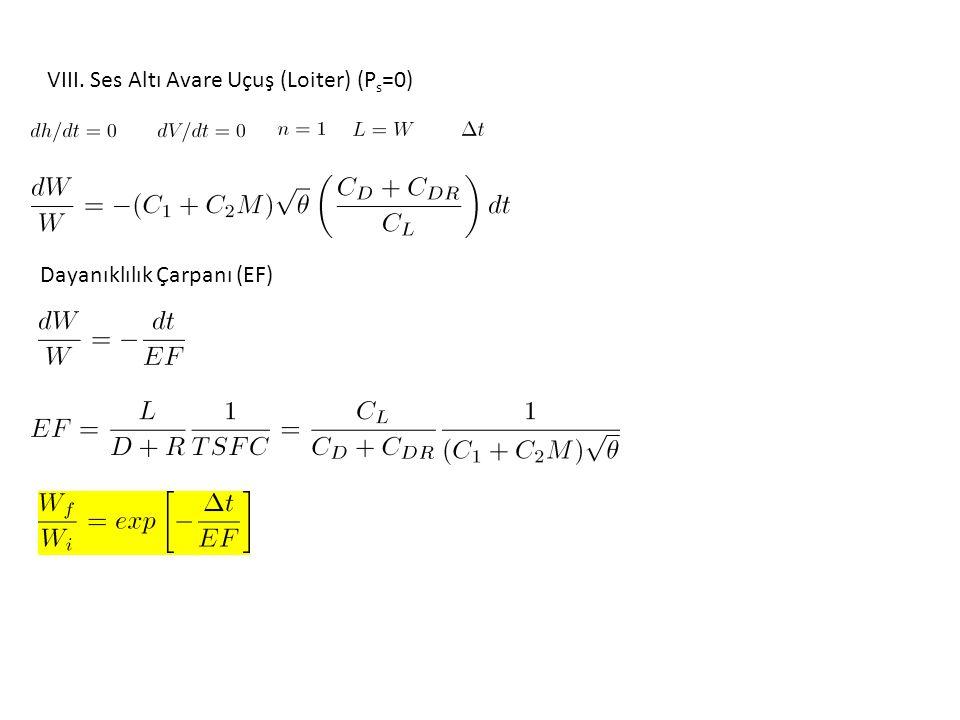 VIII. Ses Altı Avare Uçuş (Loiter) (P s =0) Dayanıklılık Çarpanı (EF)