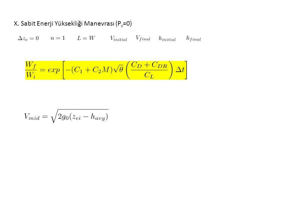 X. Sabit Enerji Yüksekliği Manevrası (P s =0)