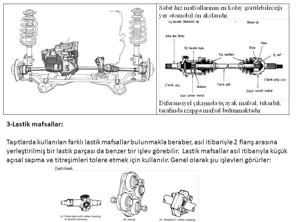 3-Lastik mafsallar: Taşıtlarda kullanılan farklı lastik mafsallar bulunmakla beraber, asıl itibariyle 2 flanş arasına yerleştirilmiş bir lastik parçası da benzer bir işlev görebilir.