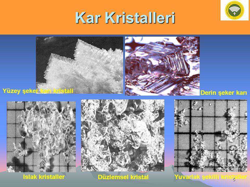 Kar Kristalleri Derin şeker karı Yüzey şeker karı kristali Islak kristallerYuvarlak şekilli kristaller Düzlemsel kristal 5
