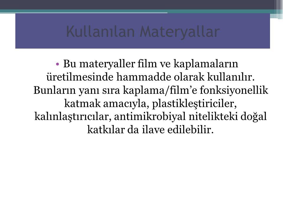 Kullanılan Materyallar Bu materyaller film ve kaplamaların üretilmesinde hammadde olarak kullanılır. Bunların yanı sıra kaplama/film'e fonksiyonellik