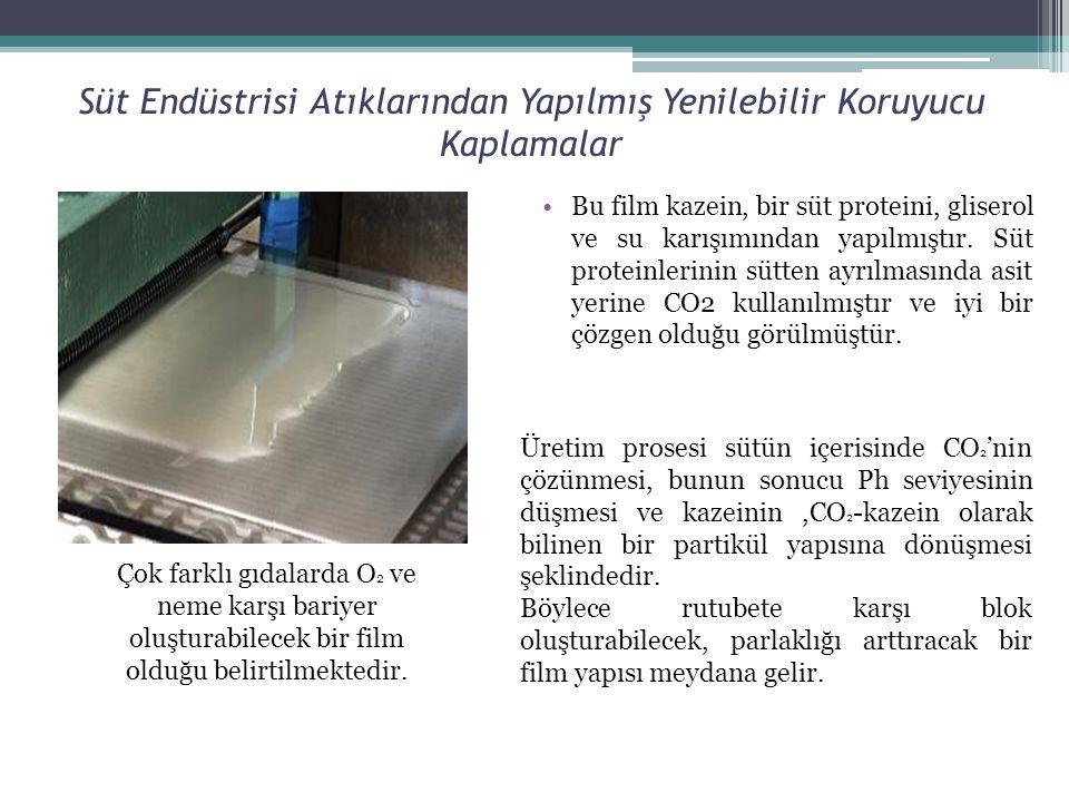 Süt Endüstrisi Atıklarından Yapılmış Yenilebilir Koruyucu Kaplamalar Bu film kazein, bir süt proteini, gliserol ve su karışımından yapılmıştır. Süt pr