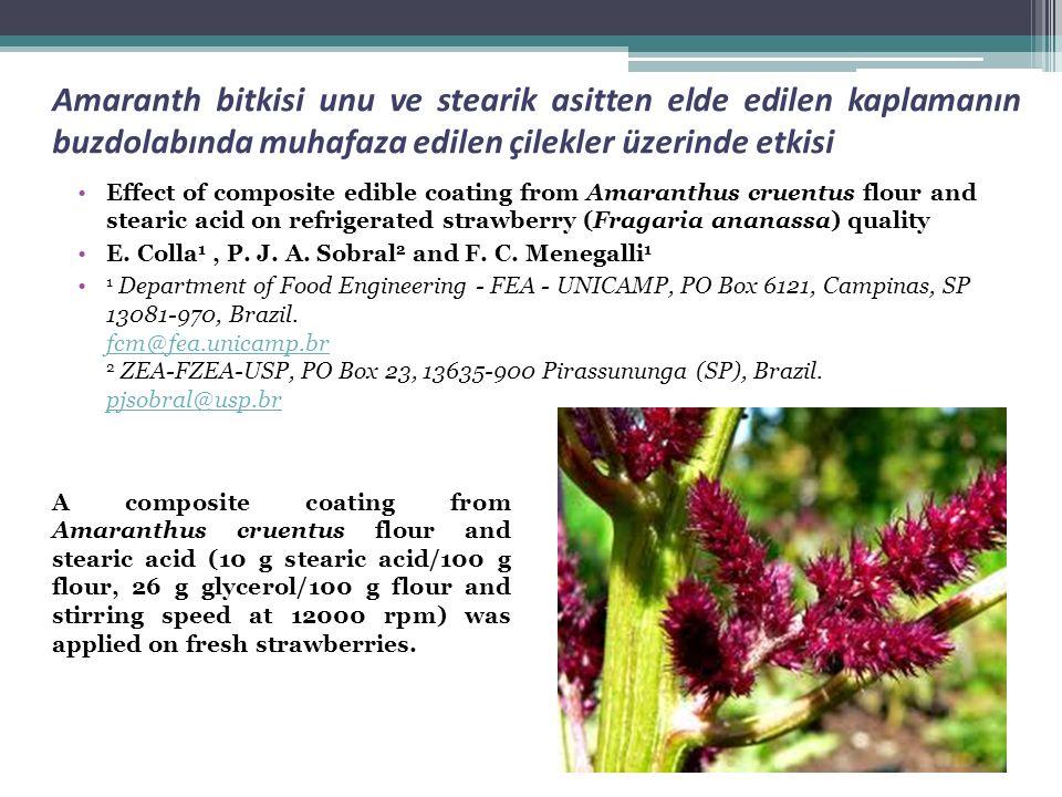 Amaranth bitkisi unu ve stearik asitten elde edilen kaplamanın buzdolabında muhafaza edilen çilekler üzerinde etkisi Effect of composite edible coatin