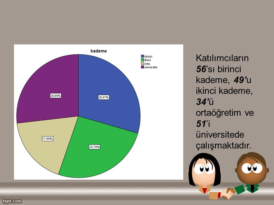 Katılımcıların 56'sı birinci kademe, 49'u ikinci kademe, 34'ü ortaöğretim ve 51'i üniversitede çalışmaktadır.