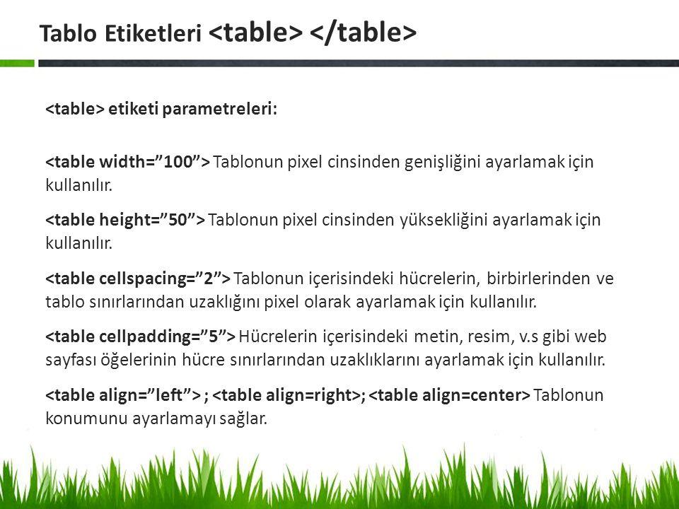 etiketi parametreleri: Tablonun pixel cinsinden genişliğini ayarlamak için kullanılır. Tablonun pixel cinsinden yüksekliğini ayarlamak için kullanılır