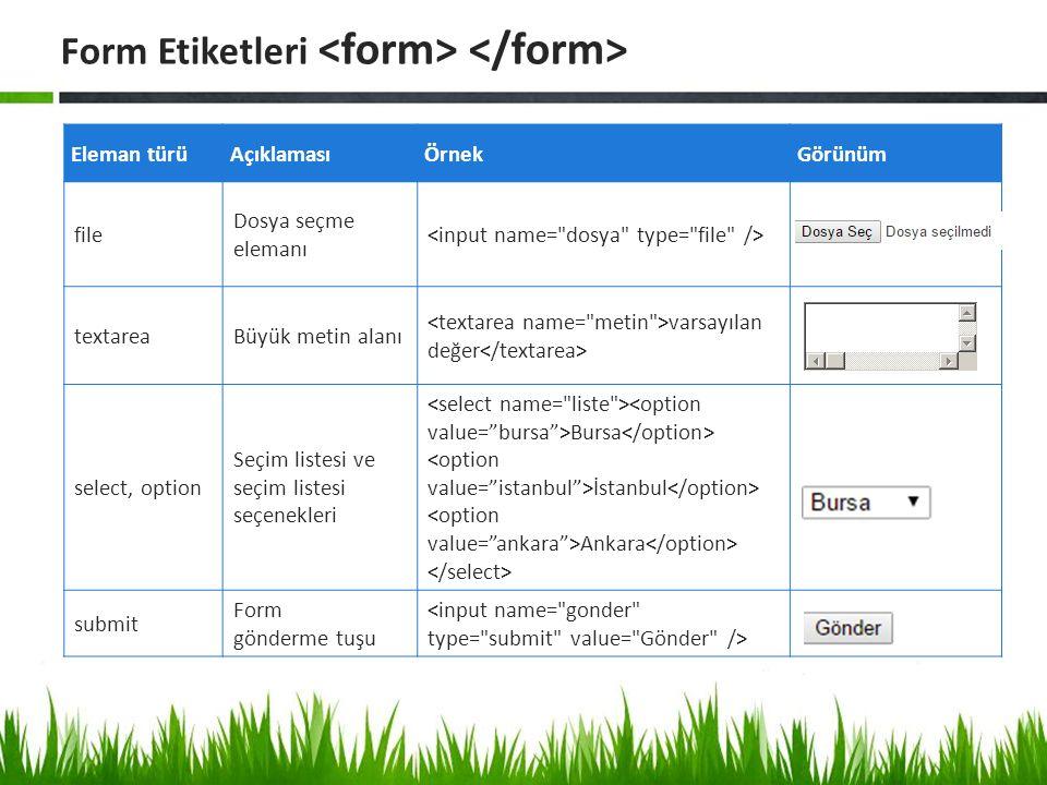 Form Etiketleri Eleman türüAçıklamasıÖrnekGörünüm file Dosya seçme elemanı textareaBüyük metin alanı varsayılan değer select, option Seçim listesi ve